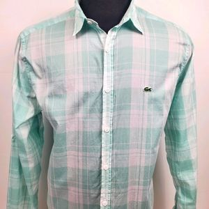 Lacoste Casual Button Green Plaid Shirt Size 42